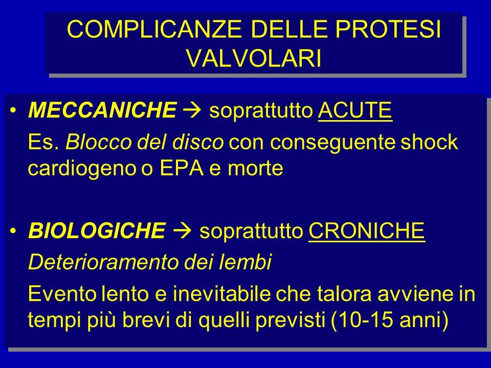 COMPLICANZE DELLE PROTESI VALVOLARI
