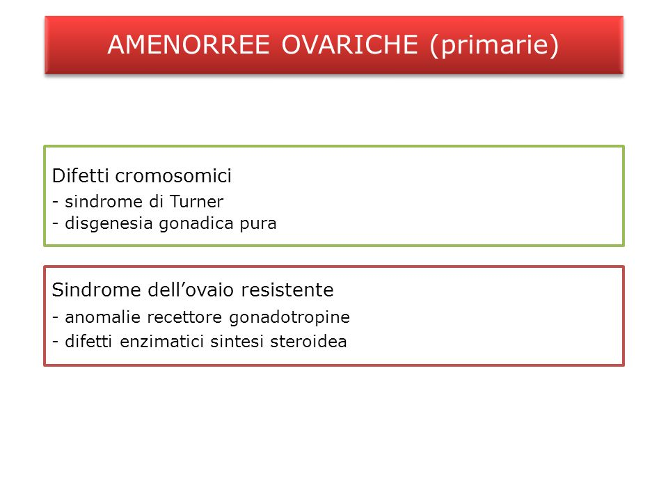 AMENORREE OVARICHE (primarie)