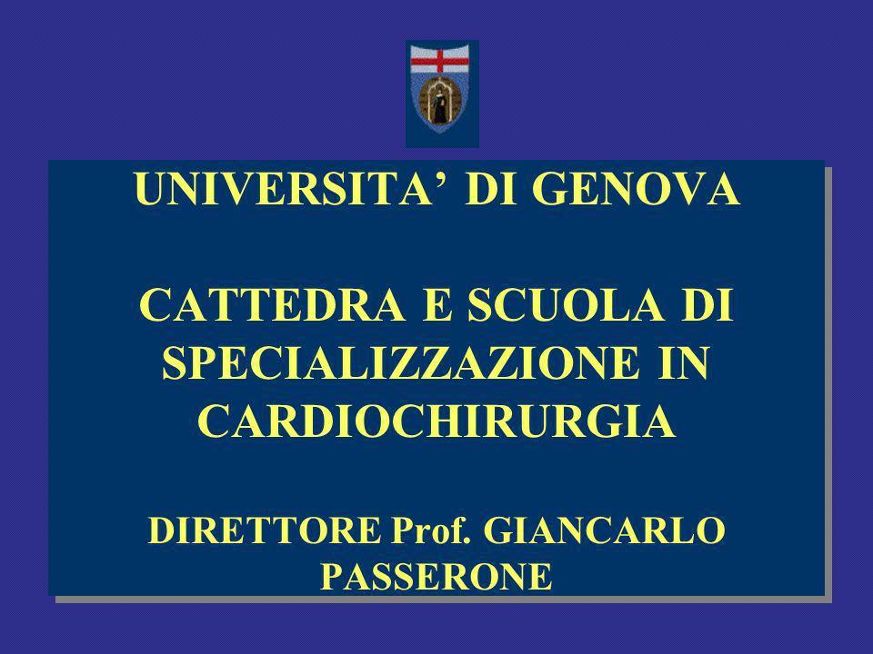 UNIVERSITA' DI GENOVA CATTEDRA E SCUOLA DI SPECIALIZZAZIONE IN CARDIOCHIRURGIA DIRETTORE Prof.