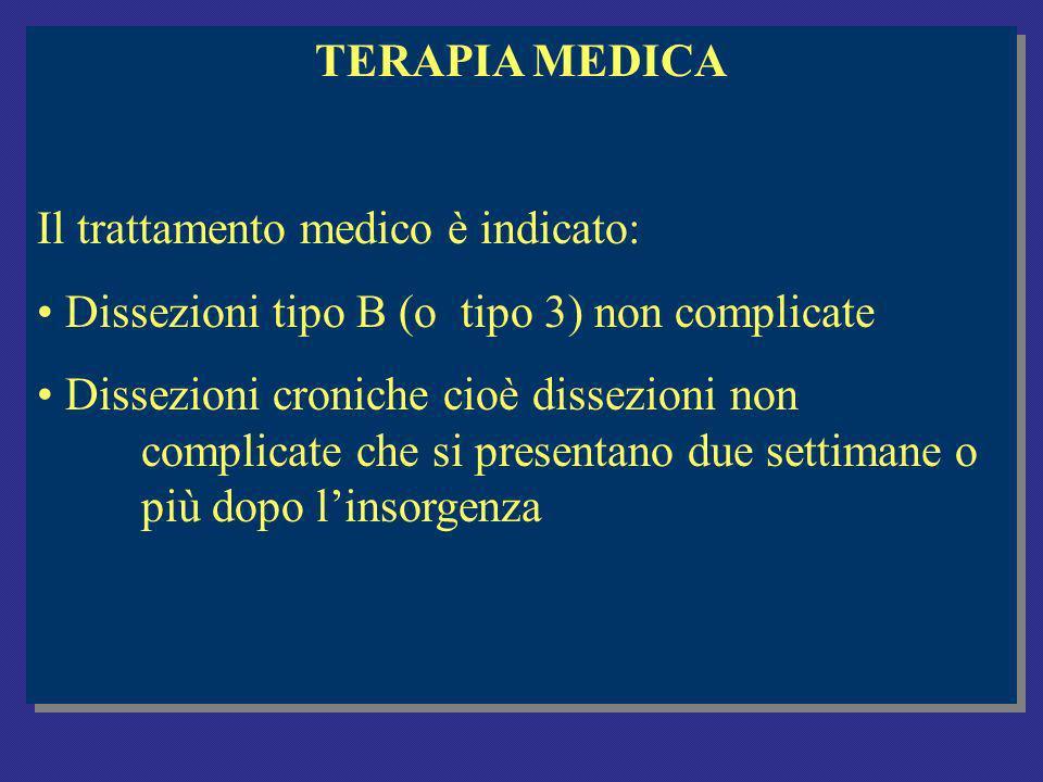 TERAPIA MEDICA Il trattamento medico è indicato: Dissezioni tipo B (o tipo 3) non complicate.