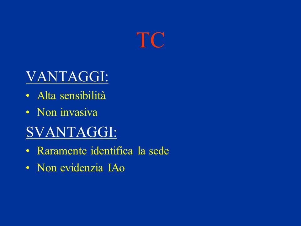 TC VANTAGGI: SVANTAGGI: Alta sensibilità Non invasiva