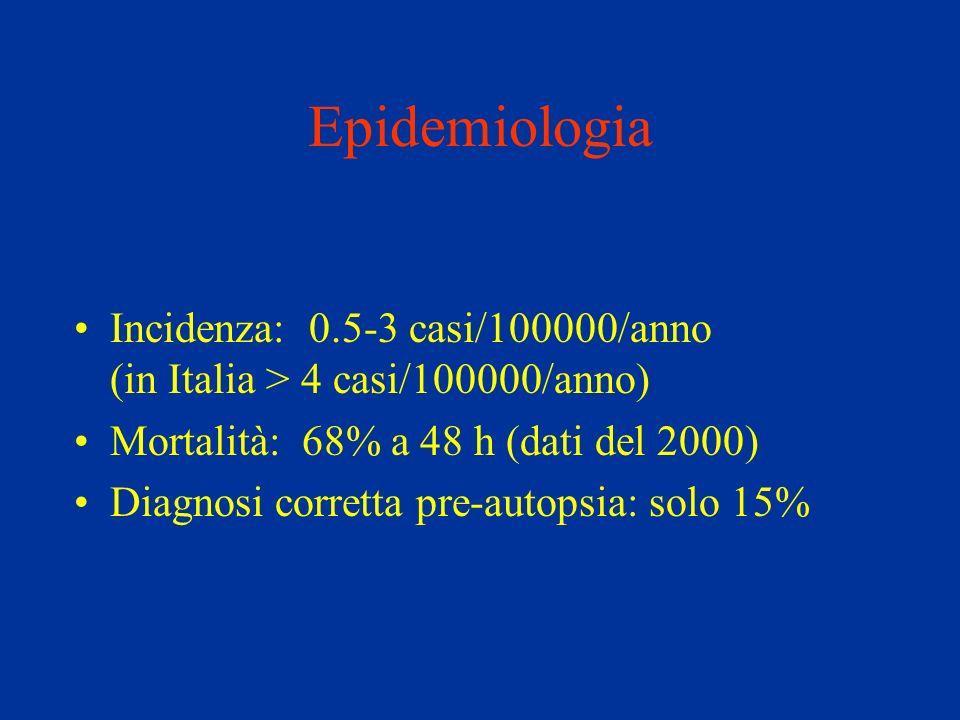 EpidemiologiaIncidenza: 0.5-3 casi/100000/anno (in Italia > 4 casi/100000/anno)