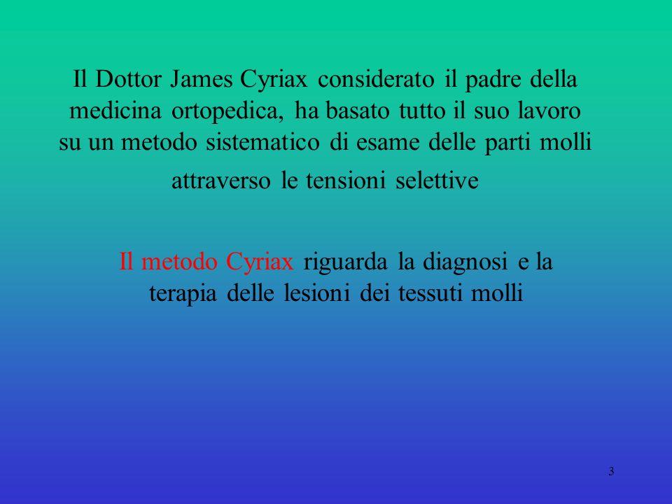 Il Dottor James Cyriax considerato il padre della medicina ortopedica, ha basato tutto il suo lavoro su un metodo sistematico di esame delle parti molli attraverso le tensioni selettive