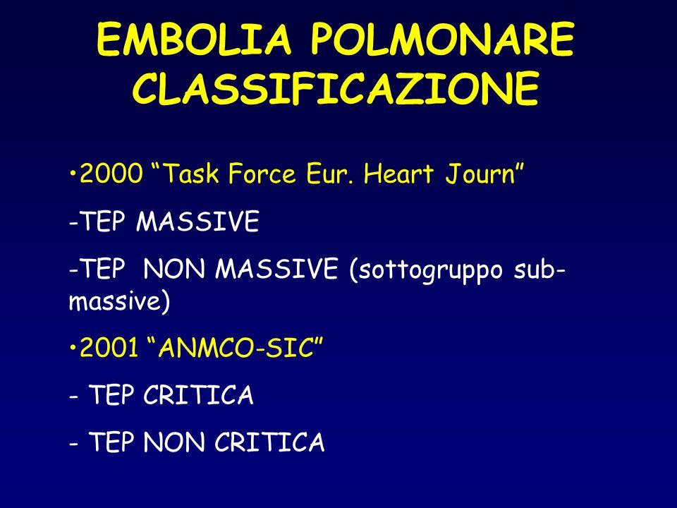EMBOLIA POLMONARE CLASSIFICAZIONE