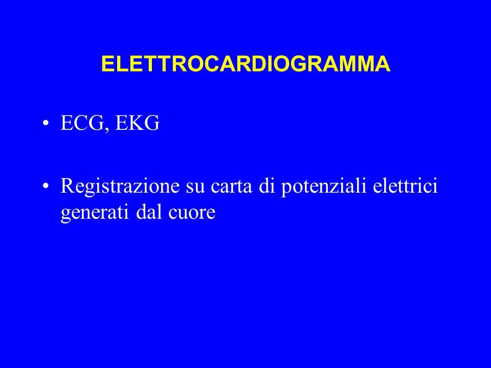 ELETTROCARDIOGRAMMA ECG, EKG Registrazione su carta di potenziali elettrici generati dal cuore