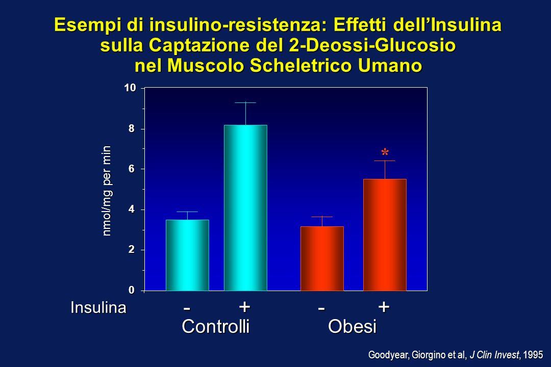 - + - + Esempi di insulino-resistenza: Effetti dell'Insulina
