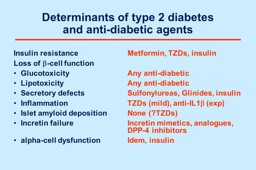 Determinants of type 2 diabetes and anti-diabetic agents