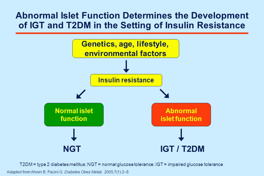 Abnormal Islet Function Determines the Development of IGT and T2DM in the Setting of Insulin Resistance