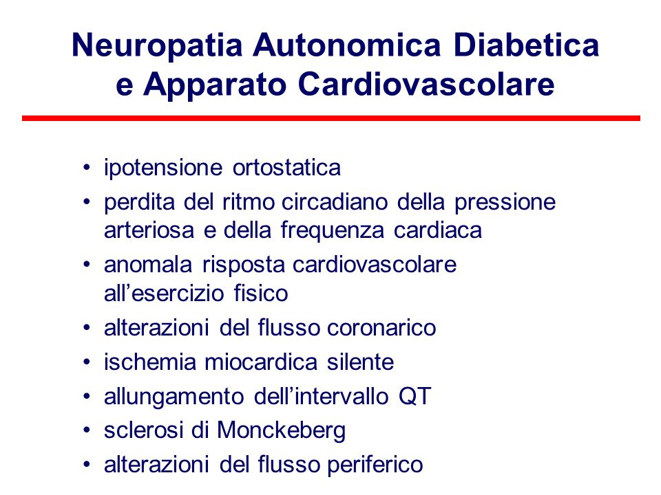 Neuropatia Autonomica Diabetica e Apparato Cardiovascolare