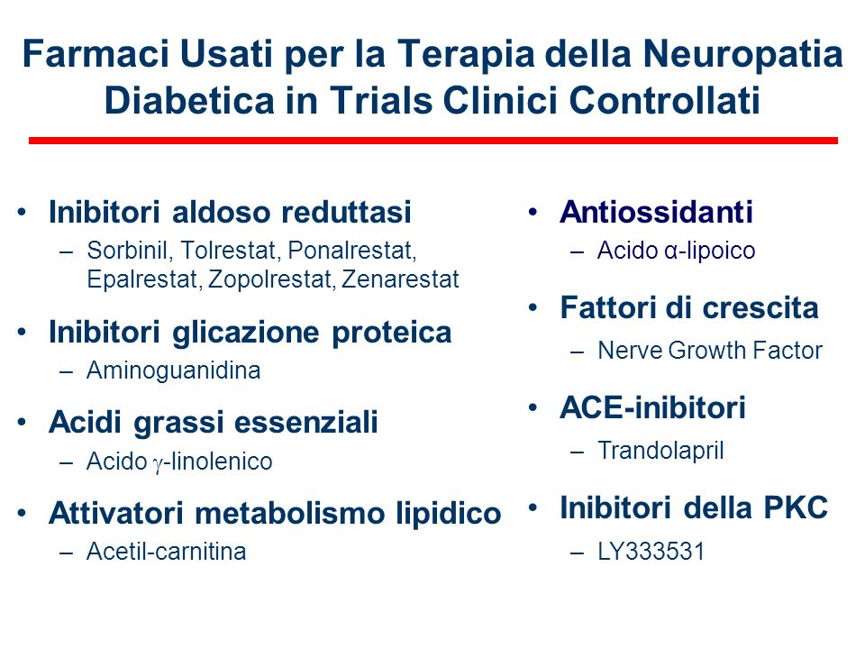 Farmaci Usati per la Terapia della Neuropatia Diabetica in Trials Clinici Controllati