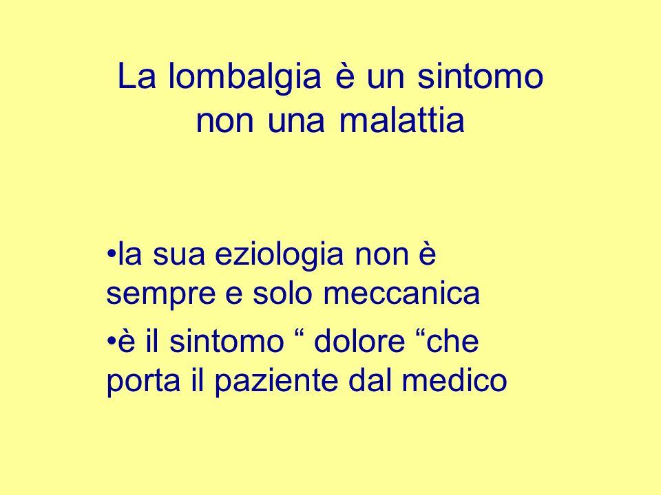 La lombalgia è un sintomo non una malattia