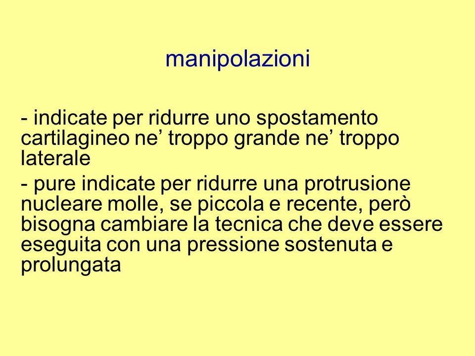 manipolazioni - indicate per ridurre uno spostamento cartilagineo ne' troppo grande ne' troppo laterale.