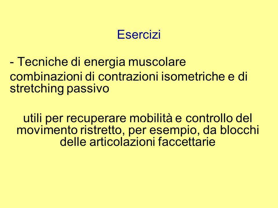 Esercizi - Tecniche di energia muscolare. combinazioni di contrazioni isometriche e di stretching passivo.