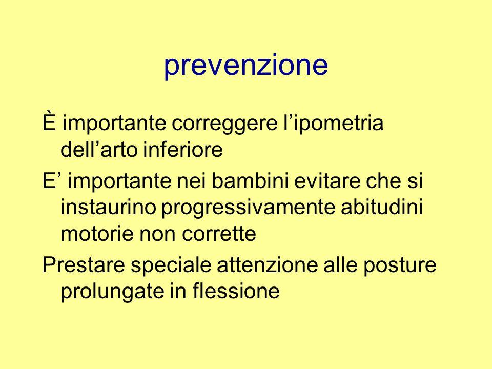prevenzione È importante correggere l'ipometria dell'arto inferiore