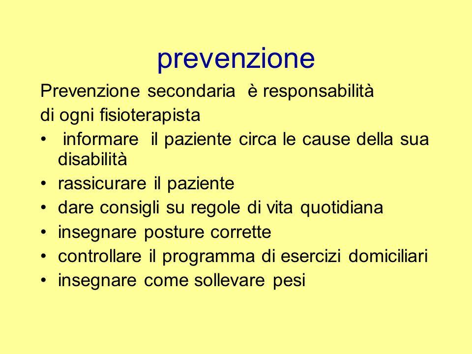 prevenzione Prevenzione secondaria è responsabilità