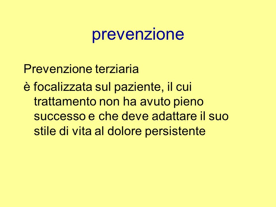 prevenzione Prevenzione terziaria