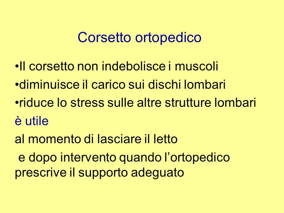 Corsetto ortopedico Il corsetto non indebolisce i muscoli