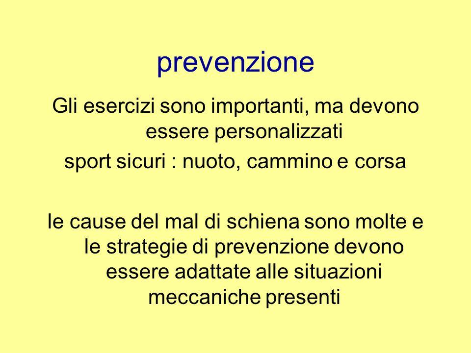 prevenzione Gli esercizi sono importanti, ma devono essere personalizzati. sport sicuri : nuoto, cammino e corsa.