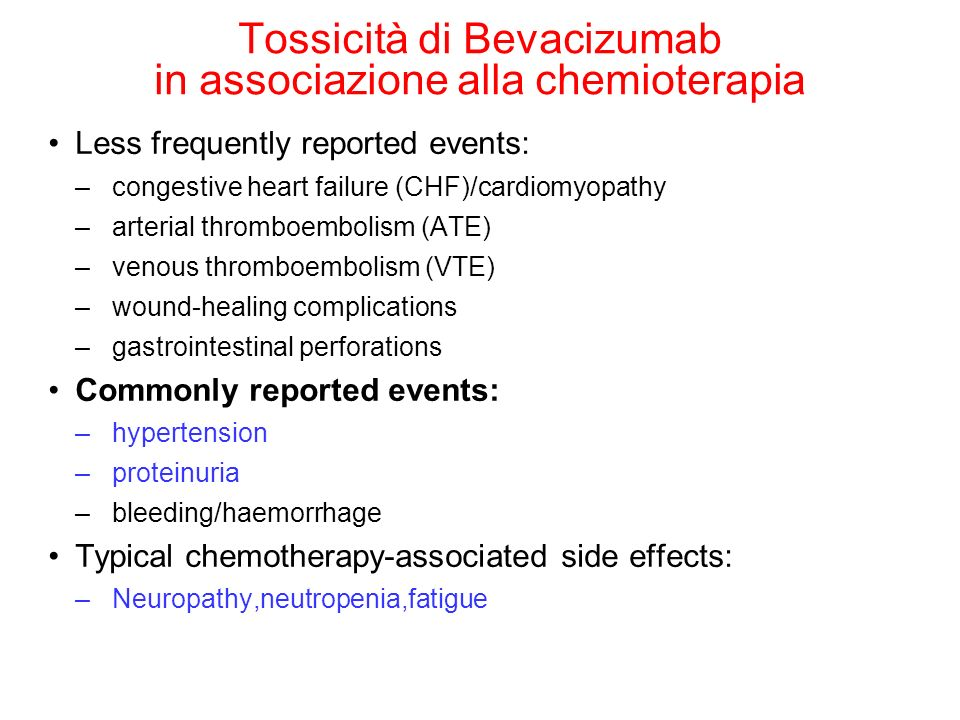Tossicità di Bevacizumab in associazione alla chemioterapia