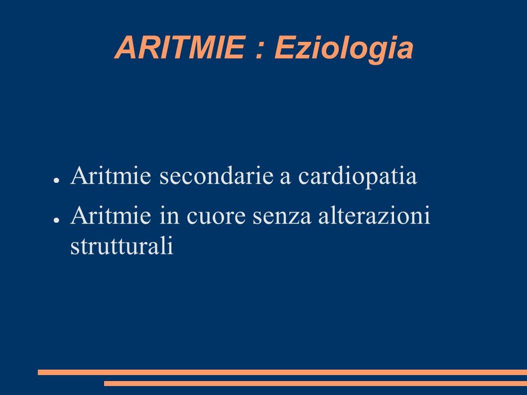 ARITMIE : Eziologia Aritmie secondarie a cardiopatia