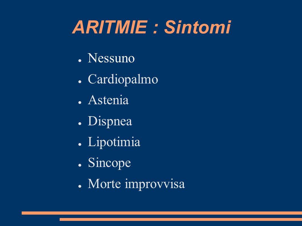 ARITMIE : Sintomi Nessuno Cardiopalmo Astenia Dispnea Lipotimia