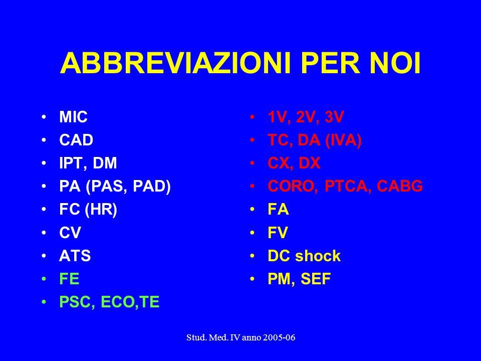 ABBREVIAZIONI PER NOI MIC CAD IPT, DM PA (PAS, PAD) FC (HR) CV ATS FE