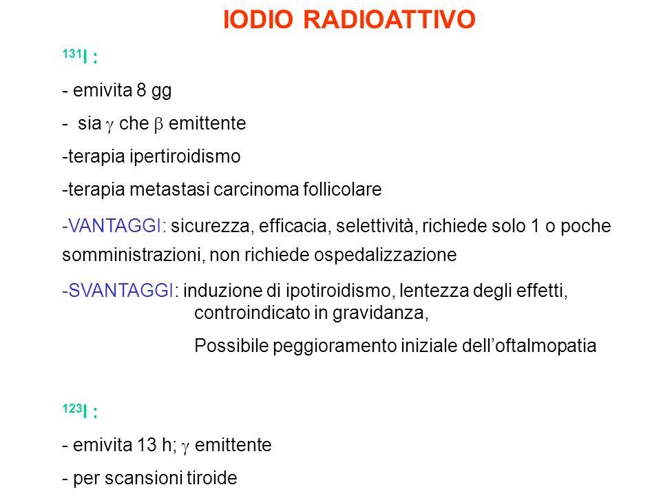IODIO RADIOATTIVO 131I : - emivita 8 gg - sia  che  emittente