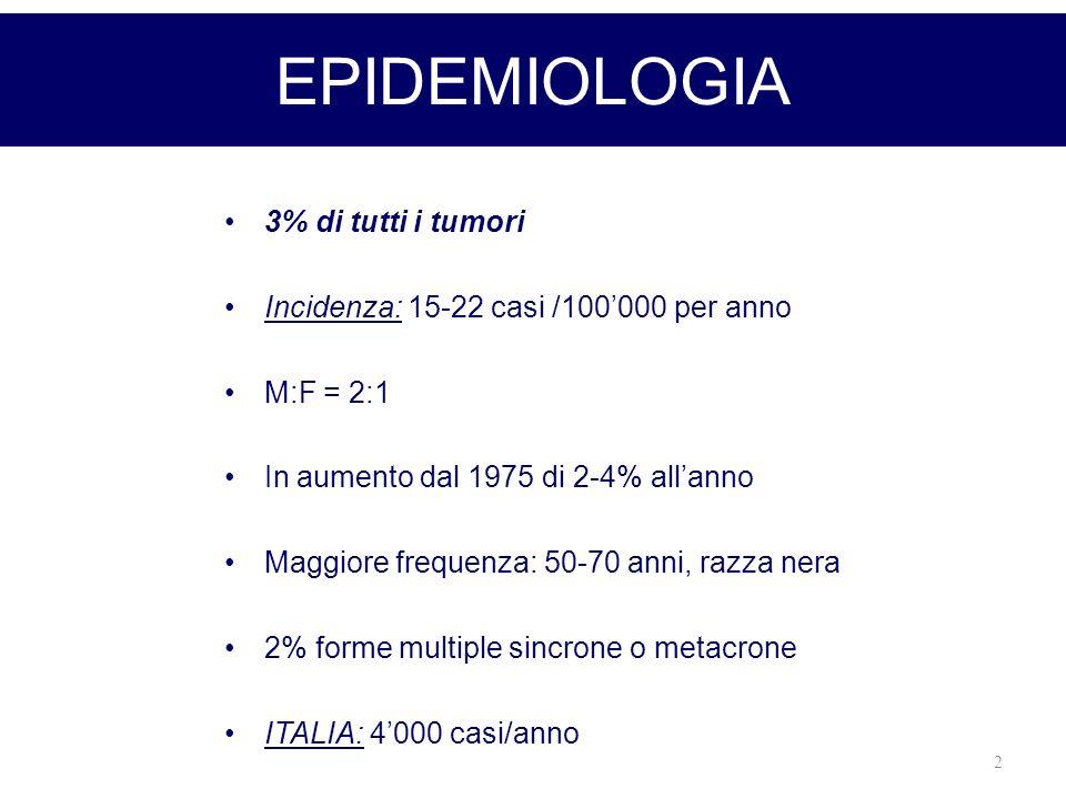 EPIDEMIOLOGIA 3% di tutti i tumori