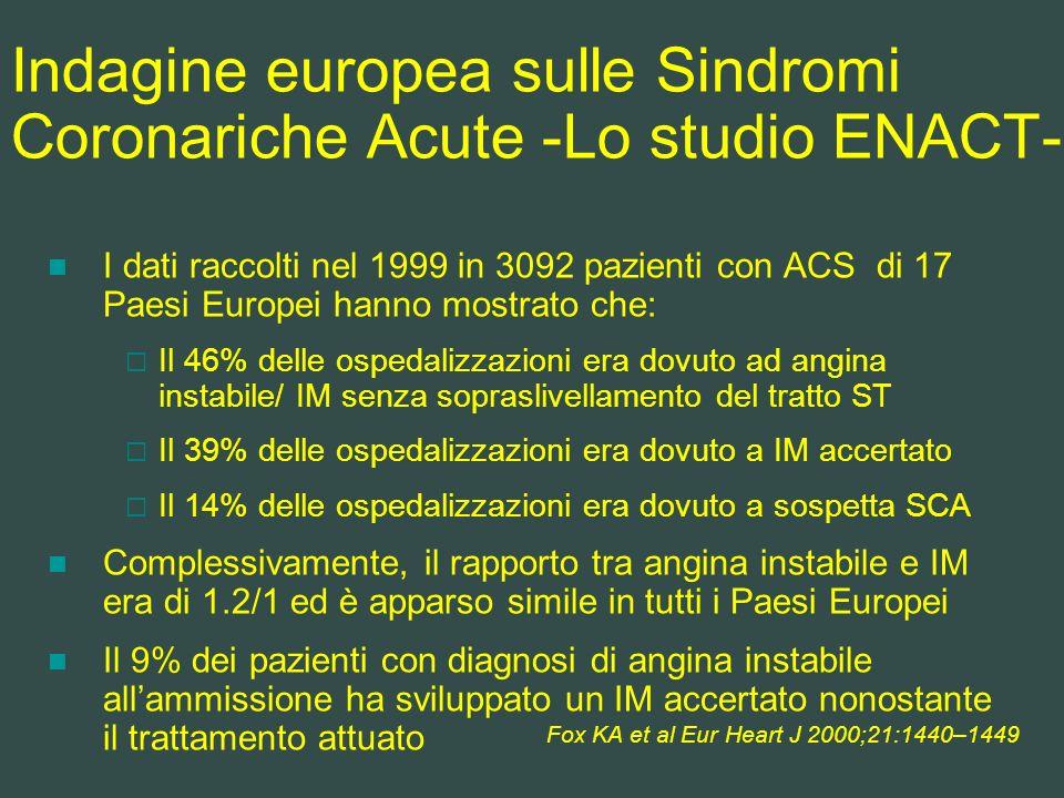 Indagine europea sulle Sindromi Coronariche Acute -Lo studio ENACT-