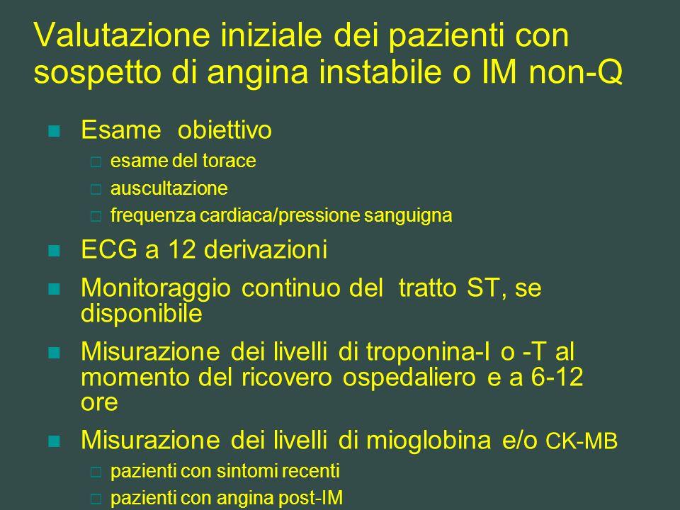 Valutazione iniziale dei pazienti con sospetto di angina instabile o IM non-Q