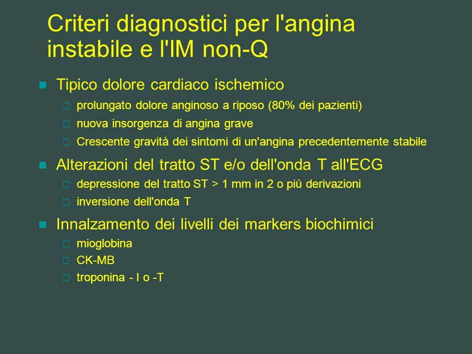 Criteri diagnostici per l angina instabile e l IM non-Q