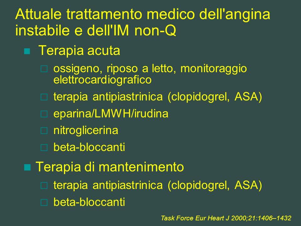 Attuale trattamento medico dell angina instabile e dell IM non-Q