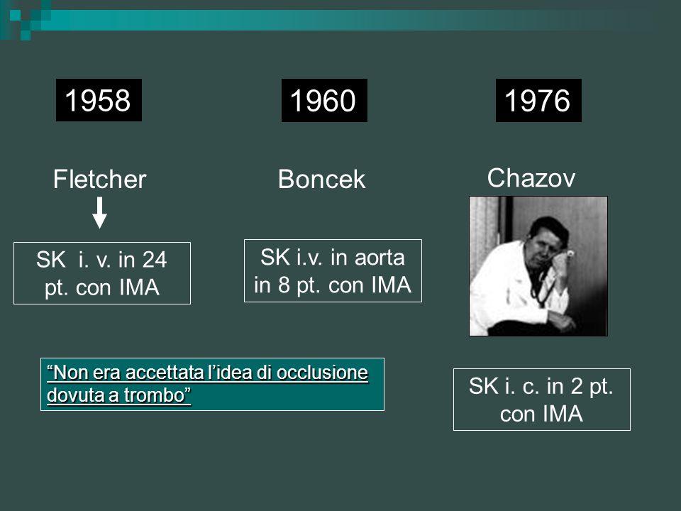 SK i.v. in aorta in 8 pt. con IMA