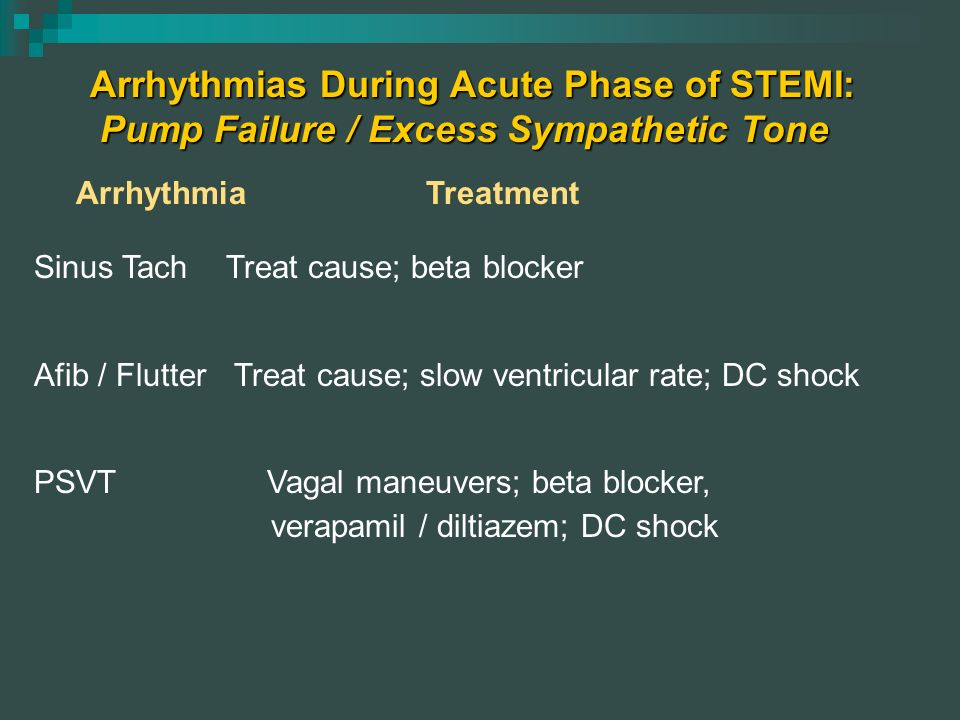 Arrhythmias During Acute Phase of STEMI: Pump Failure / Excess Sympathetic Tone