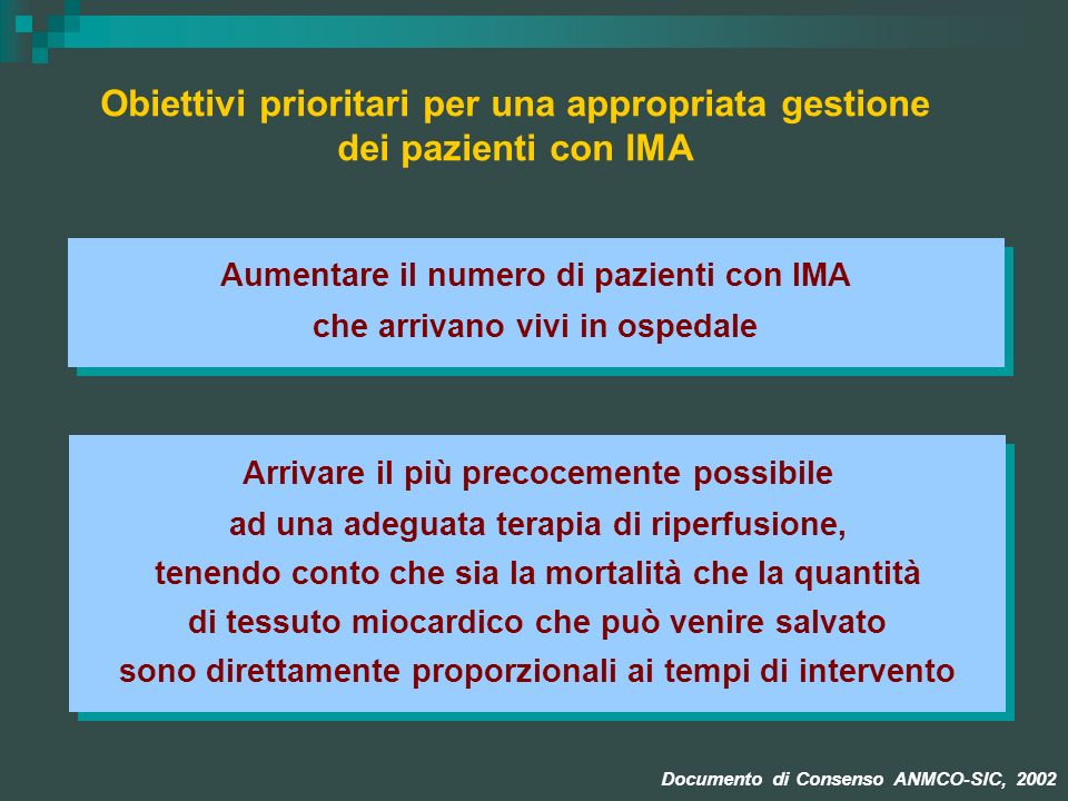 Obiettivi prioritari per una appropriata gestione dei pazienti con IMA
