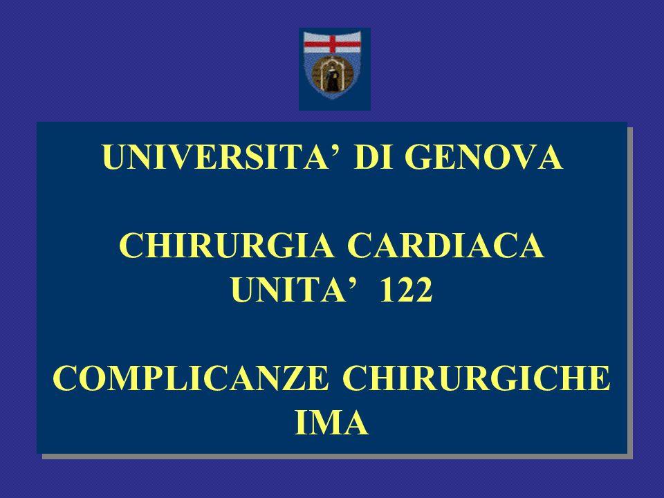 UNIVERSITA' DI GENOVA CHIRURGIA CARDIACA UNITA' 122 COMPLICANZE CHIRURGICHE IMA