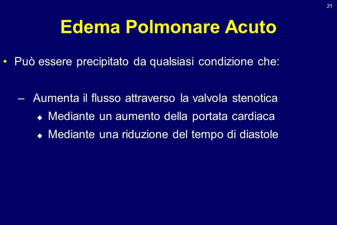 Edema Polmonare Acuto Può essere precipitato da qualsiasi condizione che: Aumenta il flusso attraverso la valvola stenotica.