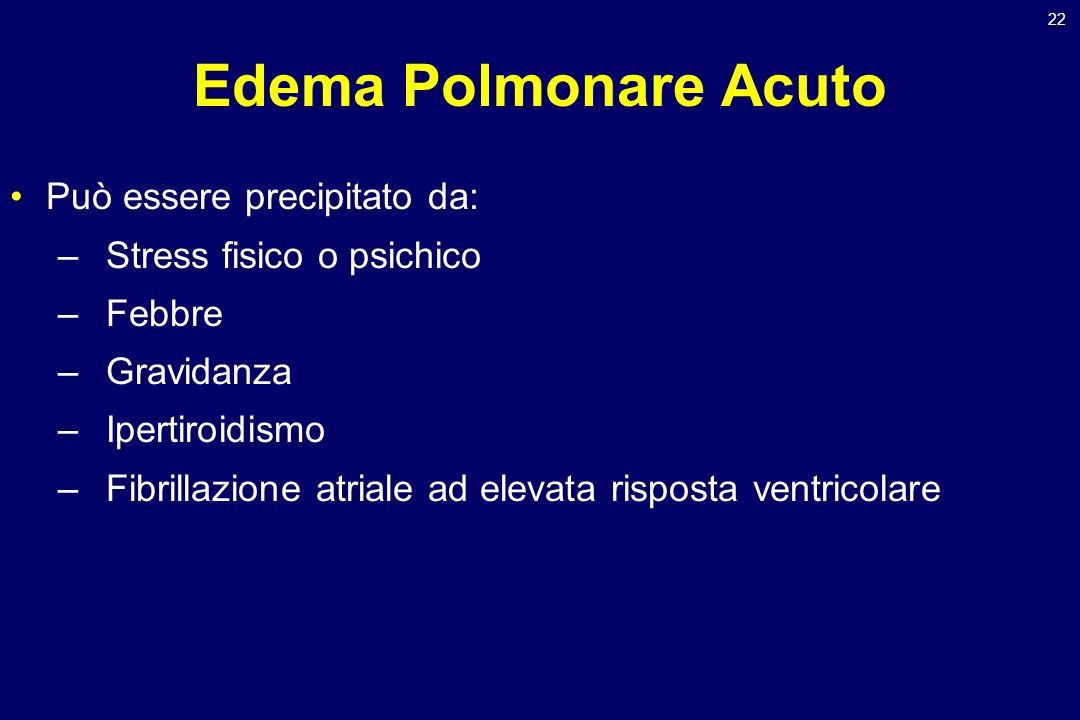 Edema Polmonare Acuto Può essere precipitato da: