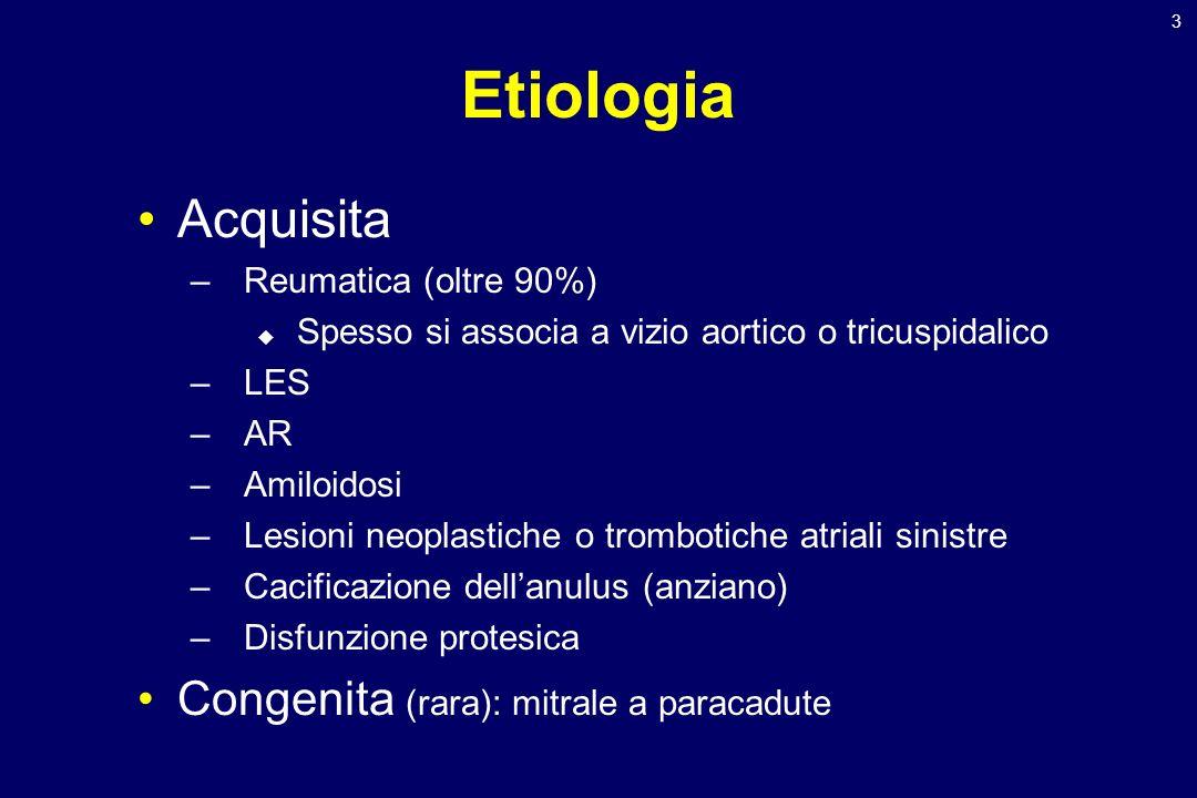 Etiologia Acquisita Congenita (rara): mitrale a paracadute