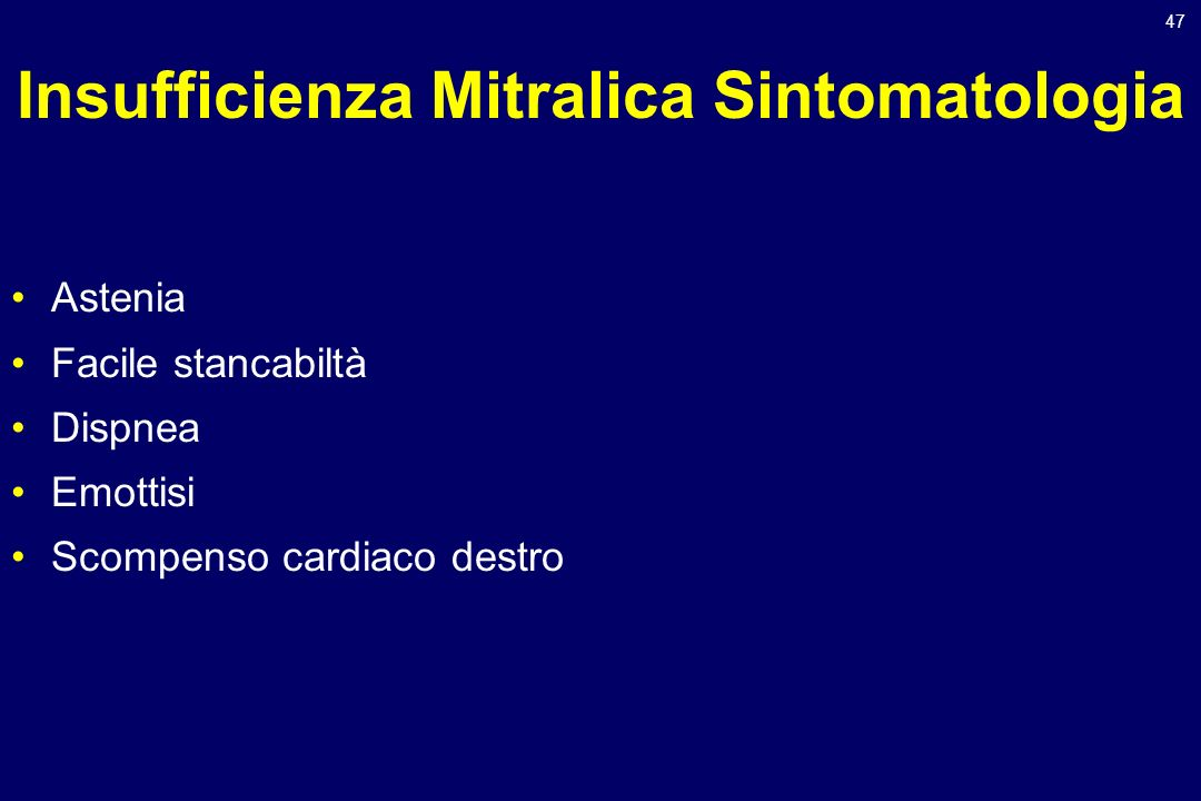 Insufficienza Mitralica Sintomatologia