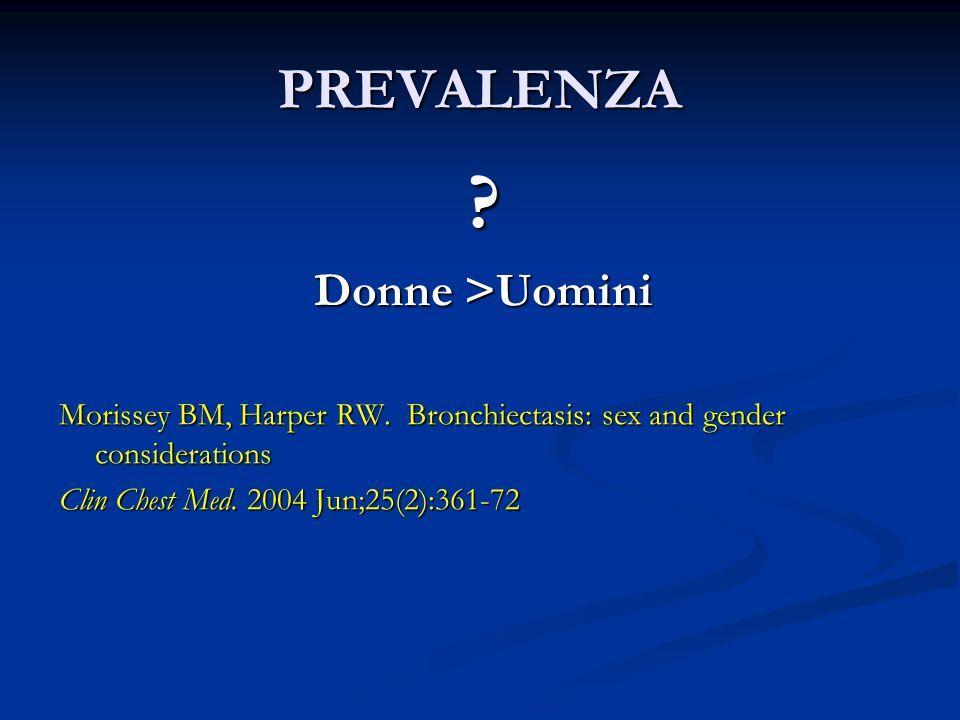 PREVALENZA Donne >Uomini