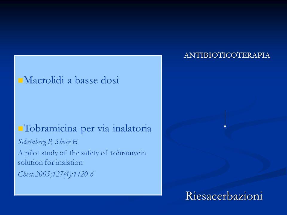 Riesacerbazioni Macrolidi a basse dosi Tobramicina per via inalatoria