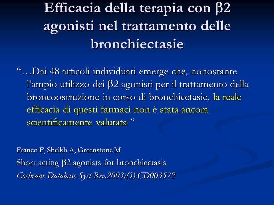 Efficacia della terapia con b2 agonisti nel trattamento delle bronchiectasie