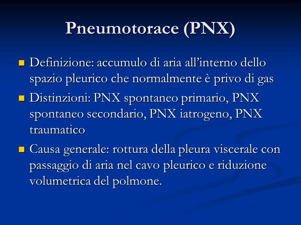 Pneumotorace (PNX) Definizione: accumulo di aria all'interno dello spazio pleurico che normalmente è privo di gas.