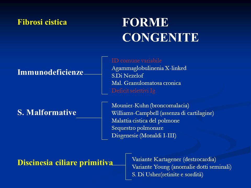 FORME CONGENITE Fibrosi cistica Immunodeficienze S. Malformative
