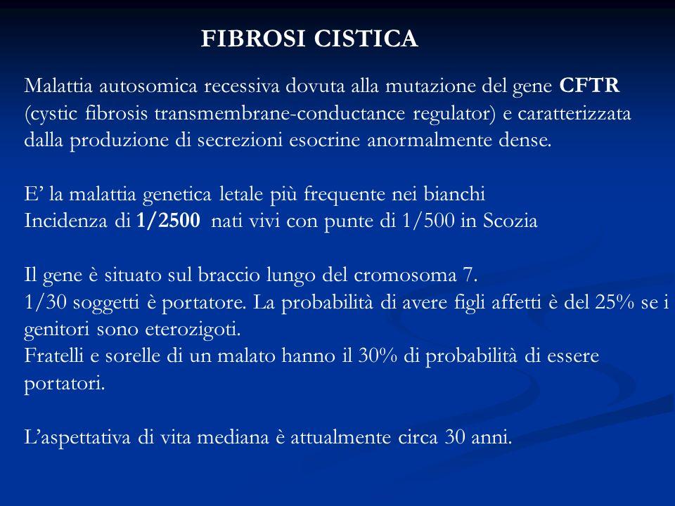 FIBROSI CISTICA Malattia autosomica recessiva dovuta alla mutazione del gene CFTR.