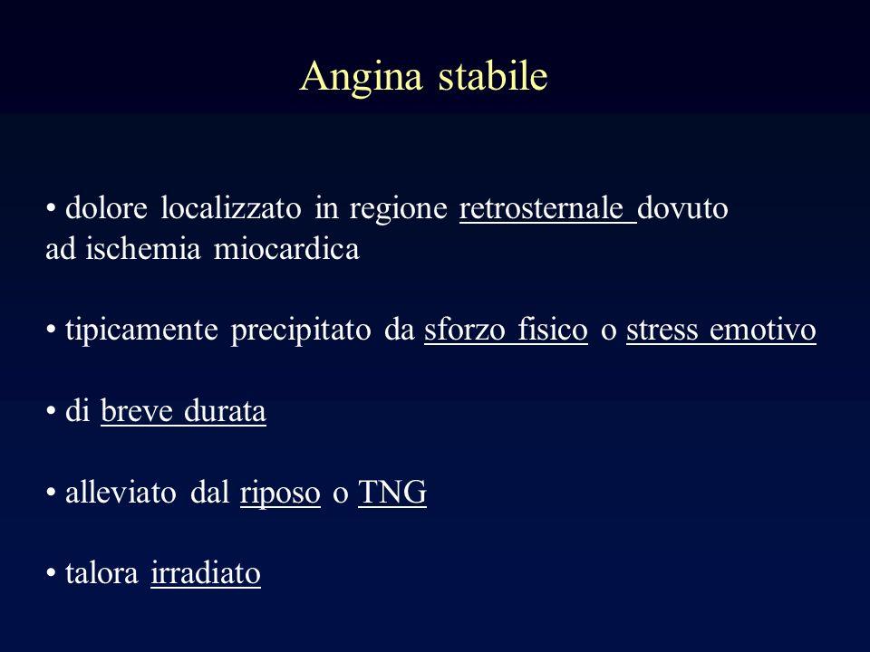 Angina stabile dolore localizzato in regione retrosternale dovuto