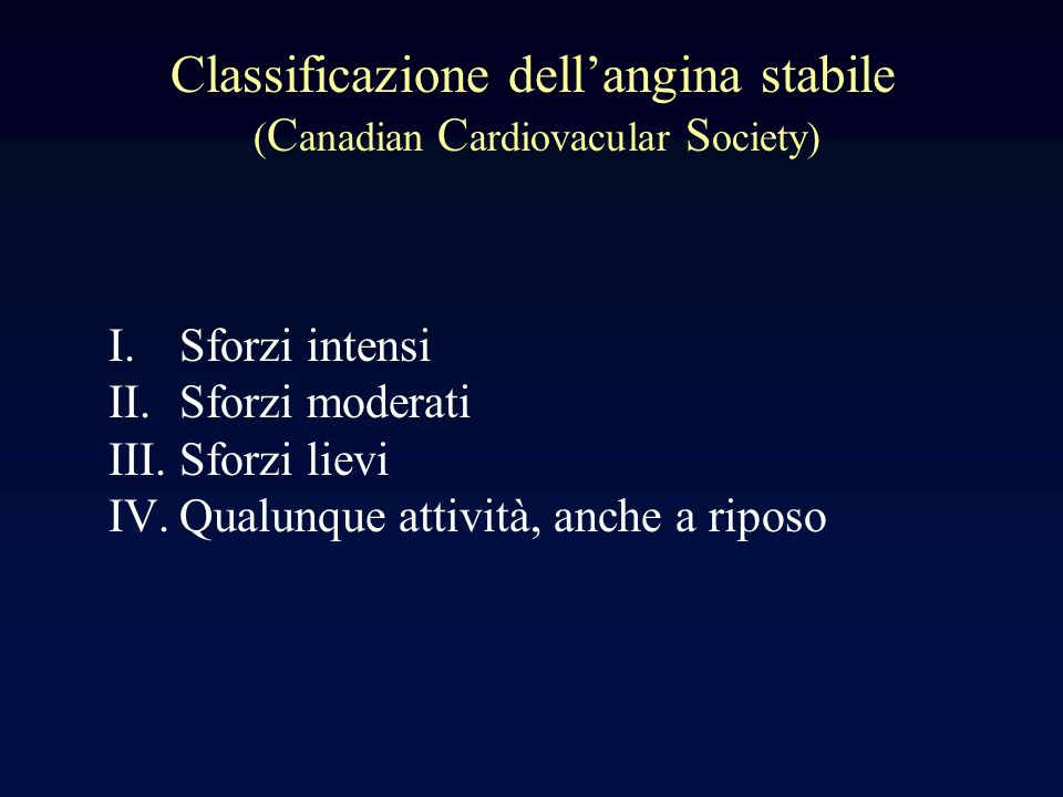 Classificazione dell'angina stabile