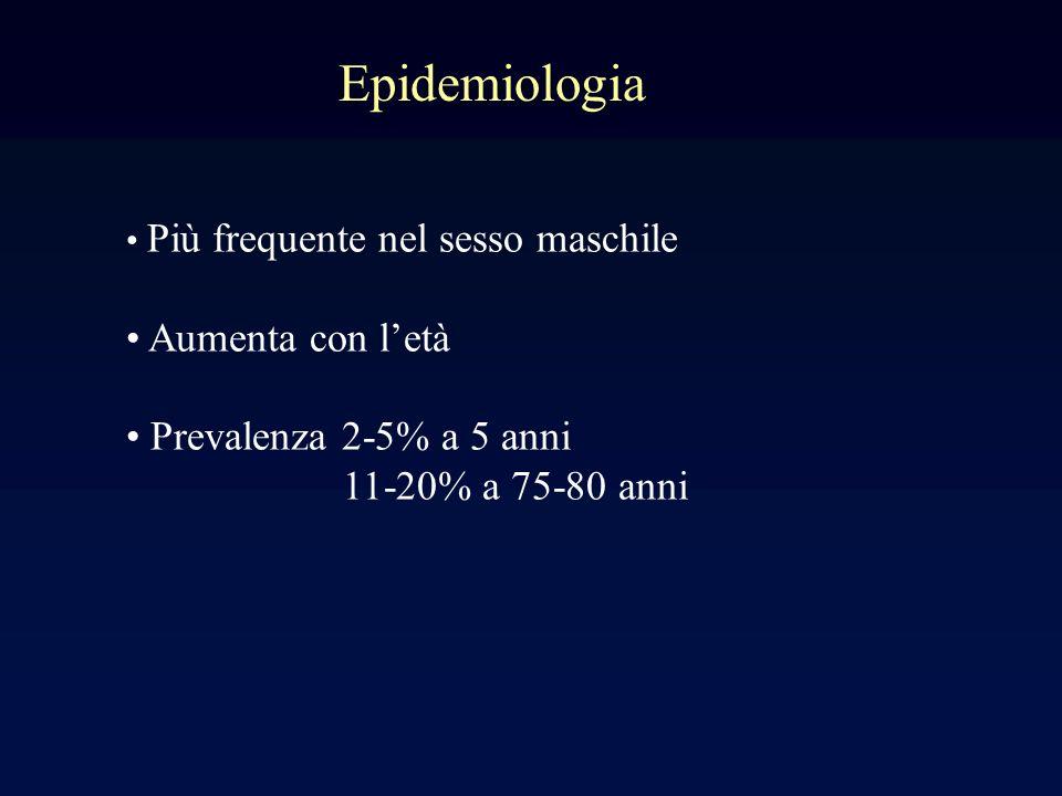 Epidemiologia Aumenta con l'età Prevalenza 2-5% a 5 anni