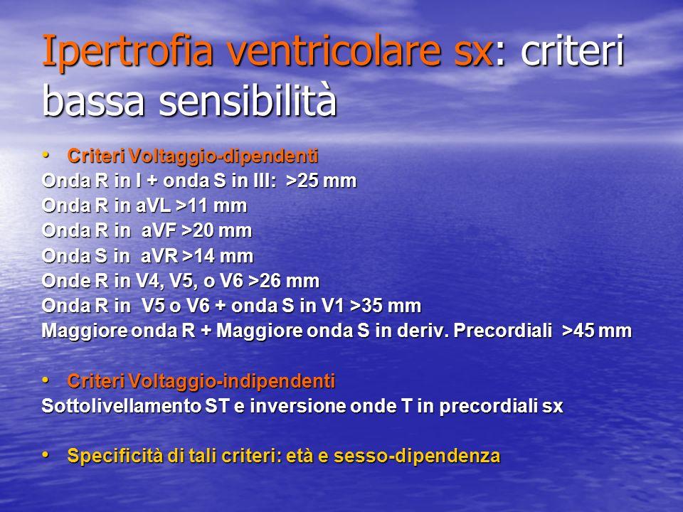 Ipertrofia ventricolare sx: criteri bassa sensibilità